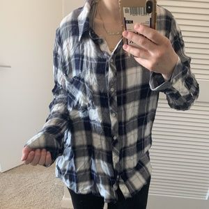 Navy and White Flannel